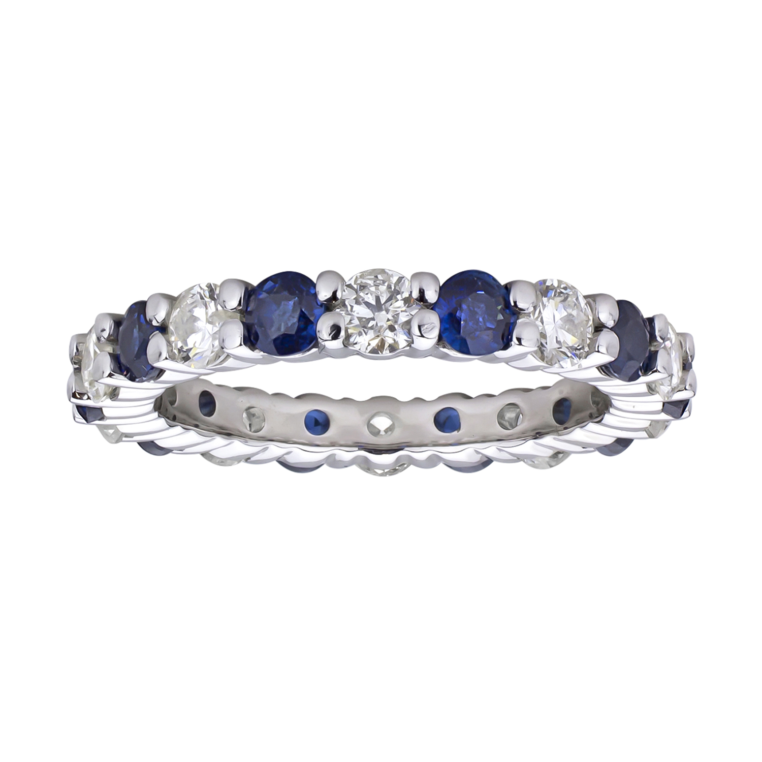 View 2.20cttw Diamond and Sapphire Eternity Band set in 14k Gold