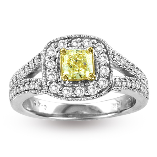 View 0.92ct tw Natural Fancy Yellow Diamond Antique look Ring 18K Gold