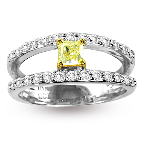 View 0.77ct tw Natural Fancy Yellow Diamond Fashion Split Shank Ring 18K Gold
