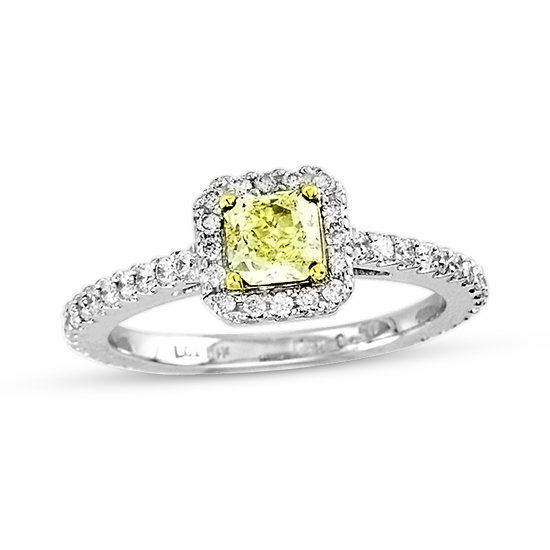 View 1.00cttw Natural Fancy Yellow and Diamond Fashion Engagement Ring Set in 14k/18k Two Tone Gold