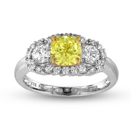 View 1.77cttw Natural Fancy Yellow Diamond fashion Engagement Ring set in 18k Two Tone Gold