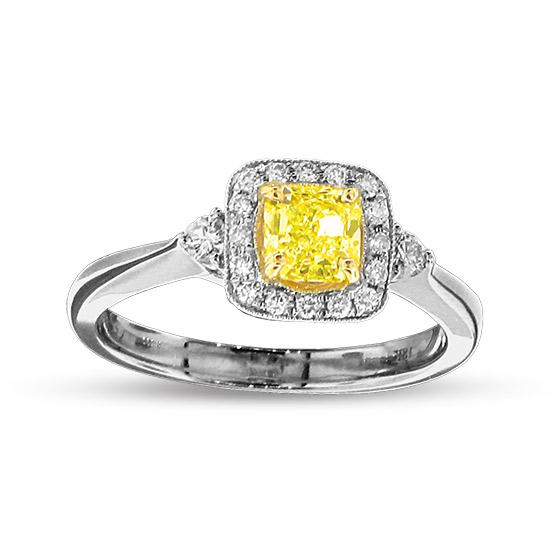 View 0.82cttw Natural Fancy Yellow Diamond Engagment Ring in 18k Two Tone