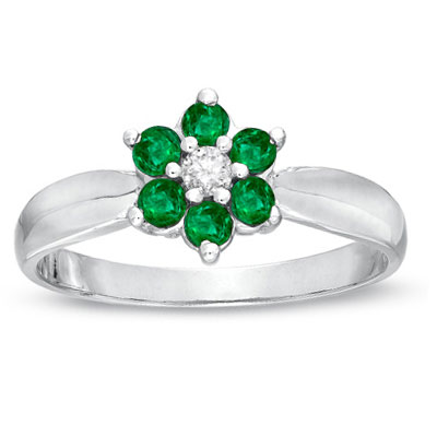View 0.38cttw Emerald and Diamond Flower Cluster Fashion Ring set in 14k Gold