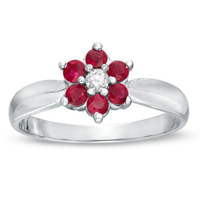 View 0.43cttw Natural Heated Ruby and Diamond Flower Cluster Fashion Ring set in 14k Gold