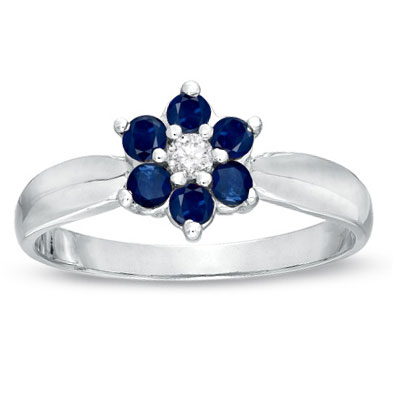 View 0.43cttw Sapphire and Diamond Flower Cluster Fashion Ring set in 14k Gold