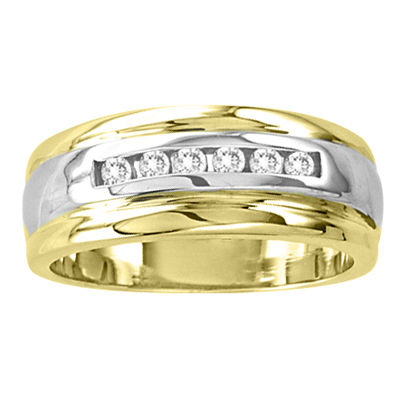 View 14k Gold Two Tone Ladies Wedding Band with 0.15ct of Diamonds
