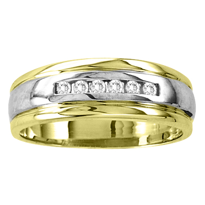View 14k Gold Two Tone Men's Wedding Band with 0.15ct tw Diamonds