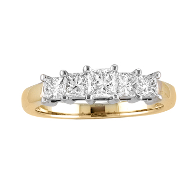 14k Gold Engagement or Wedding Band with 1.00ct tw Princess Cut Diamonds